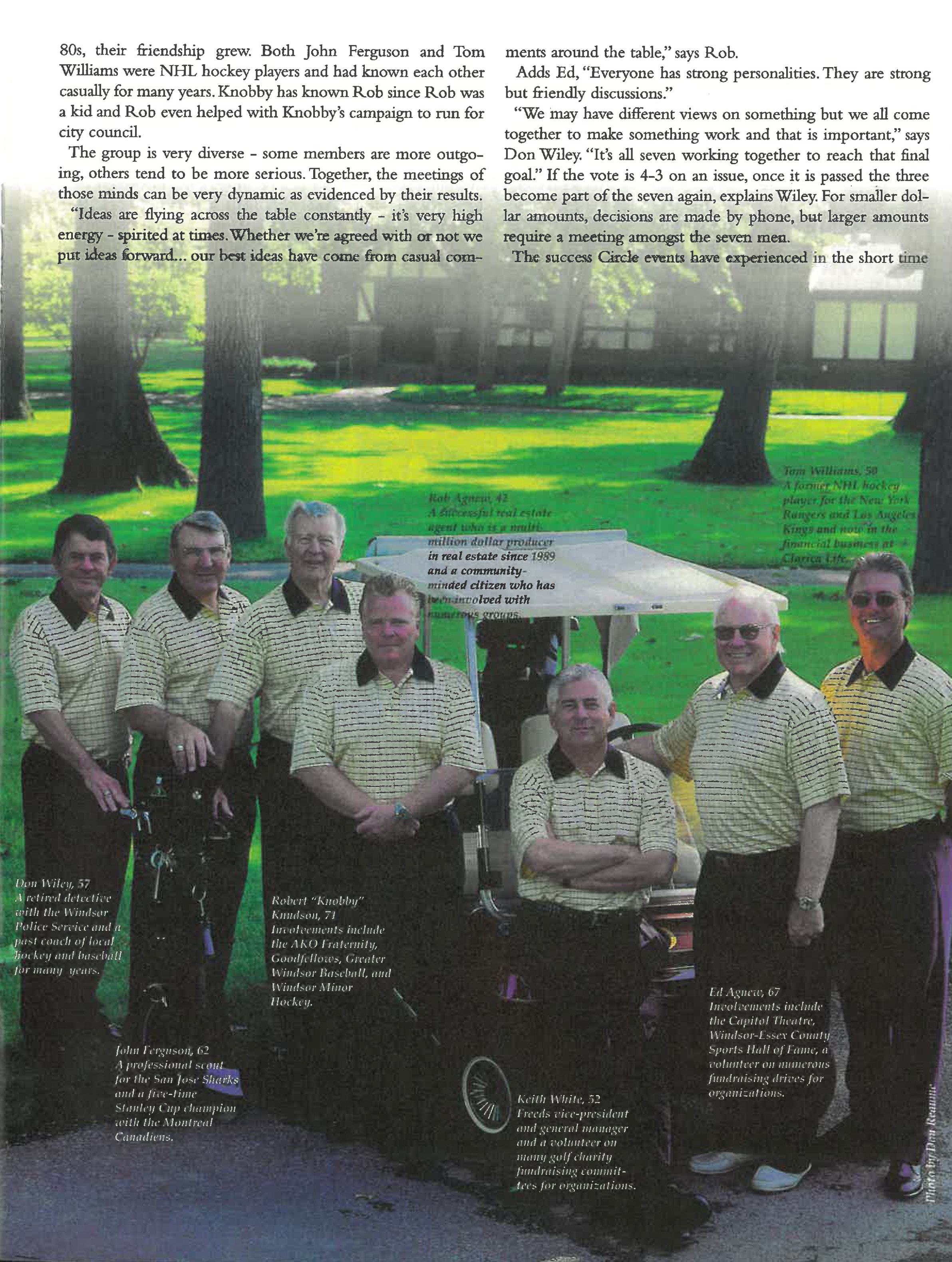 The magic of Seven Article page 2, Photo of Circle of Seven team in a golf field